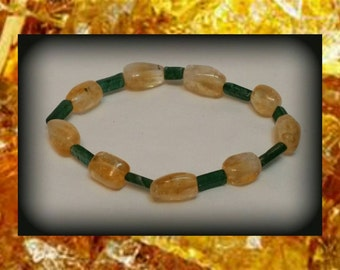 Citrine & Green Aventurine Crystal Bracelet