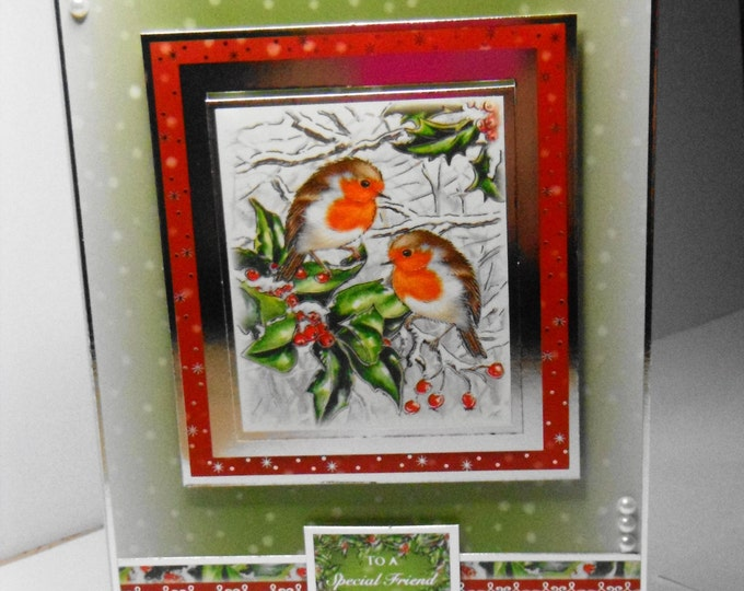 Robin Christmas Card, Traditional Card, Greeting Card, Robins and Holly, Male or Female, Any Age, Mum, Dad, Sister, Brother, Son, Daughter