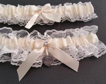White Lace garter set, ivory satin, Rhinestone, Laser engraved tag, Wedding garter, Bridal garter, Prom garter, Garter set, Custom garter