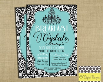 Breakfast at Tiffany's Bridal Shower Invitation Teal and Black Damask