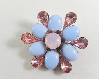 Vintage Pink and Blue Rhinestone Cabachon Flower Brooch Pin