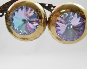 Vintage 80s Gold Tone Dome Earrings with Large Rivoli Pierced