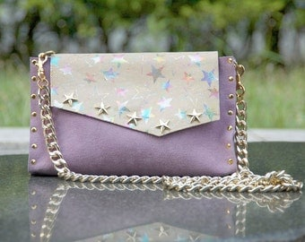 Lilac leather bag, stars print leather bag, lavender leather clutch, bag with removable chain
