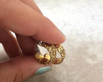 Vintage Flower Imprint Earings/ Hoop Earrings/ Gold Earrings
