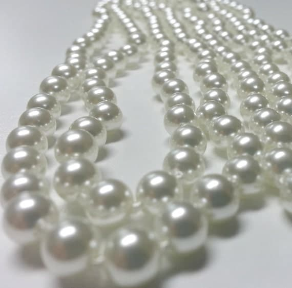 """Vintage Japanese 54"""" Knotted 6mm White Faux Pearls with ..."""