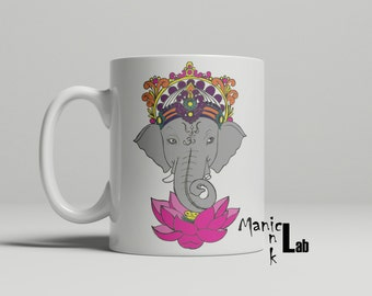 Colorful Elephant and Lotus Mug