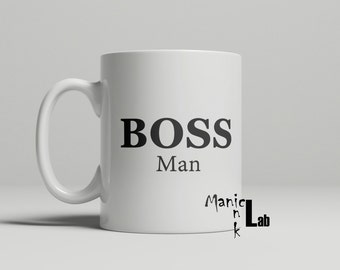 Boss Man Coffee Mug, boss mug, occupation gift, funny mug, work mug, gift for him, boss man, birthday gift, double sided image
