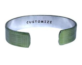 Customize | Cuff Bracelet Personalized Jewelry Hand Stamped Yellow Geometric Aluminum