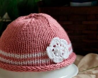 Dusty rose roll brim baby hat