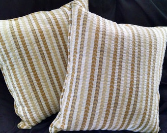 "Handmade Pillows - Puckered Jacquard in Golds & Tans ""Wheat"" Stripes, Fabric-matched Piping, Square (#30111)"