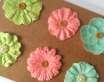 Paper Flowers Embellishment 6 pc Aqua Blue, Coral Pink, Lime Green