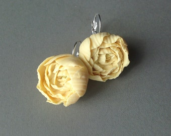 Soft Yellow Peony Lever Back Earrings, Perfect for Summertime, Polymer Clay Peonies, Statement Jewelry