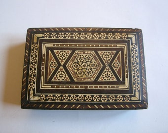 vintage inlaid wooden box