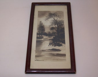 antique original framed painting, forest, signed Alexandrov