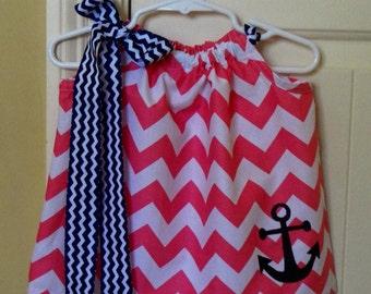 Pink Chevron Pillowcase Dress with Anchor Applique