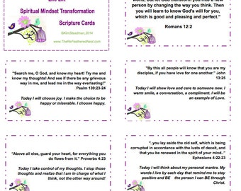 Set of 30 Bible Verses Cards and Large Print ,Biblical Mindset Scripture Cards, Printable Christian Gift, Bible Memory Cards Download
