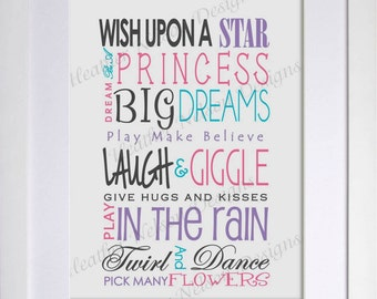 Wishes for my Daughter Nursery Print- DIGITAL