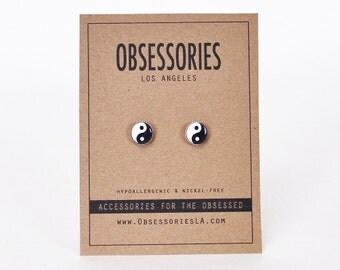 Yin Yang Earrings Yin & Yang Earrings Ying Yang Earrings Stud Earrings Yin Yang Jewelry Yin Yang Accessories 90s Grunge Yin Yang Gift Idea
