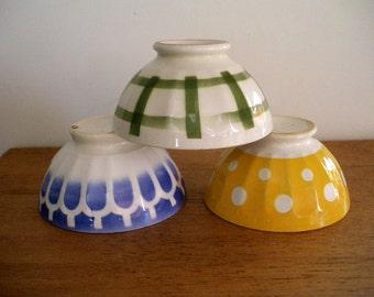 Lovely set of 3 cafe au lait bowls - French country home decor- Breakfast bowls- French country kitchen
