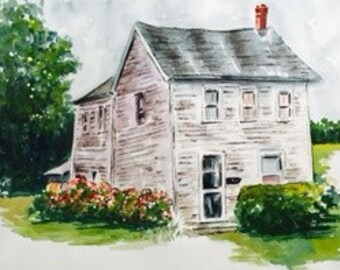 Farmhouse with flowers - watercolor, signed