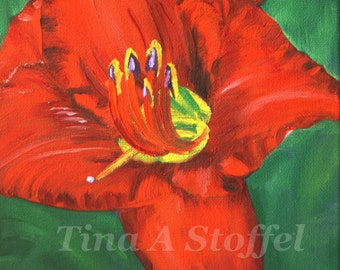 Red Daylily Original Oil Painting