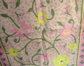 Pretty zippered pillowcases shams vintage pinks yellows green set of 2