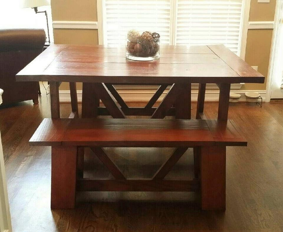 Trestle farmhouse table with matching by ForetheLoveofWoodLLC
