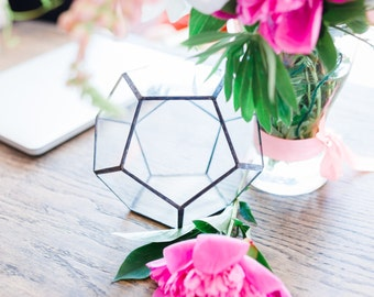 Glass geometric terrarium Dodecahedron 3 sizes. Modern Wedding table and home decor, indoor succulent planter