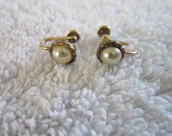 Antique J M S 12 K gold Filled and Pearl Screw Back Earrings