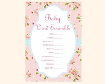 Scramble, baby word scramble, baby shower scramble game, unscramble, pink, Shabby Chic Baby Shower Games Printables, Rose Baby Shower TLC43
