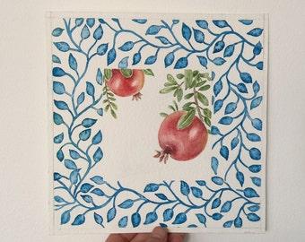 Pomegranates watercolor painting,kitchen art,wall decor,watercolor art original,fruit in art,still life watercolor painting