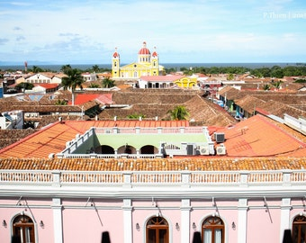 Granada Cityscape- Nicaragua, vacation, travel, yellow, colors, tropical, art, photography, cityscape, blue skies, original