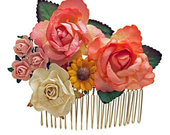 Rosey Posey Floral Hair Comb,  Flower Headband, Blue Roses, Bridesmaids, Wedding