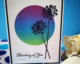 Dandelion Sunset Handmade Greeting Card