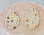 Porcelain Polka Dot Gold dangle earrings