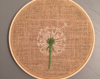 Dandelion Embroidery Hoop Art