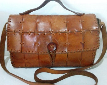 Vintage Patchwork Leather Handmade  Bag