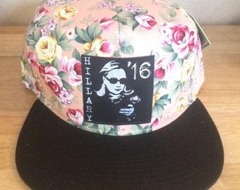 Pink Hillary Clinton Floral Snapback