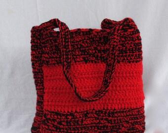 Wide Tote bag. Book bag. Ladies handbag. Womens purse. Crochet. Choose your color.