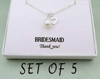 Bridesmaids Pearl Necklaces Set Of 5, Thank You Bridesmaid, Bridesmaids Necklaces, Bridesmaid Jewelry Set, Bridesmaid Gifts Set Of 5