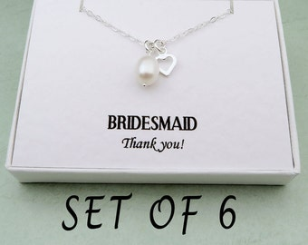Bridesmaids Necklaces Set Of 6 With Message Card, Bridesmaid Jewelry, Wedding Jewelry, Bridesmaids Gifts Set, Sterling Silver Pearl Necklace