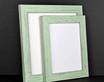 Mint Green Photo Frame Picture Frame - Rustic Reclaimed Distressed Barn Wood - 4x6 5x7 8x10 8.5x11 12x12 11x14 13x19 16x20 24x36 Custom Size