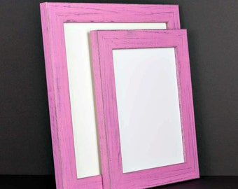 Pink Picture Frame - Rustic Reclaimed Distressed Barn Wood Style - All Wood - Choose your size - Custom Sizes Available