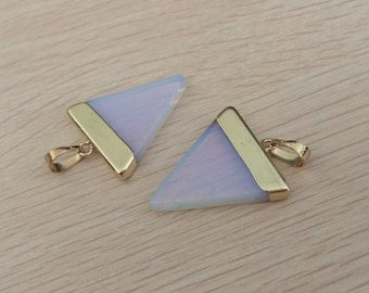 Triangle Opal pendant White opal pendant Triangle gemstone Pendant Charms Gold Plated stone necklace making supplies 1 pc