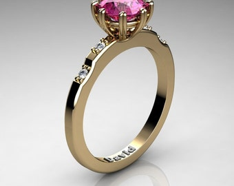 Classic 14K Yellow Gold 1 Carat Pink Sapphire Diamond Solitaire Engagement Ring R1005-14KYGDPS