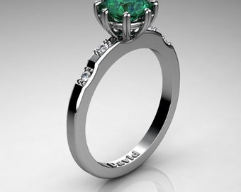 Classic 14K White Gold 1 Carat Emerald Diamond Solitaire Engagement Ring R1005-14KWGDEM