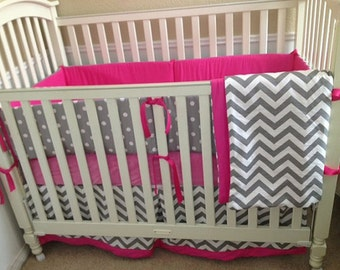 Hot Pink and Gray Baby Bedding Set