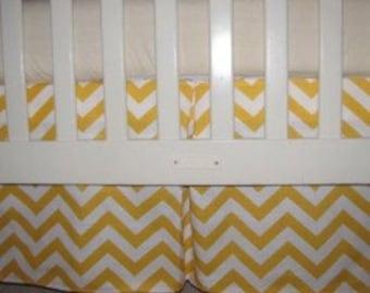 Yellow Chevron Crib Skirt with Pleat