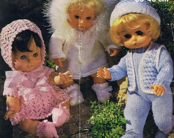 12-18 inch dolls knitting Pattern  PDF- 3 outfits to knit