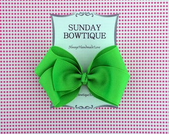 Neon Green Hair Bow, Boutique Bow, Green Boutique Bow, Green Hair Bow, Neon Hair Bow, Fluorescent Hair Bow, Bright Hair Bow